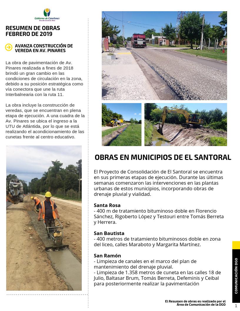 Boletín de obras 1 - Febrero 2019